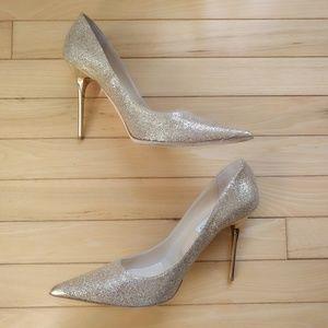 Jimmy Choo Gold Glitter Wedding Abel Pump 40.5